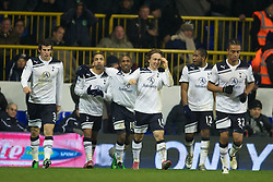 LONDON, ENGLAND - Sunday, November 28, 2010: Tottenham Hotspur's Aaron Lennon celebrates with team-mates after scoring the winning goal against Liverpool during the Premiership match at White Hart Lane. (Pic by: David Rawcliffe/Propaganda)