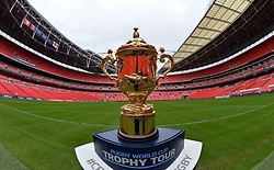 The Webb Ellis Cup during a visit to Wembley Stadium as part of the 100 day Rugby World Cup Trophy Tour of the UK & Ireland.