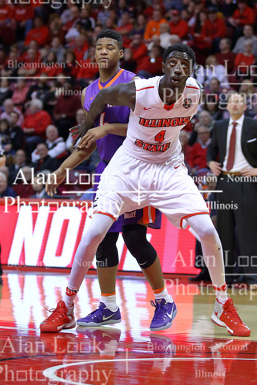 "29 December 2016:  Daouda ""David"" Ndiaye (4) blocks out Jaiveon Eaves during an NCAA  MVC (Missouri Valley conference) mens basketball game between the Evansville Purple Aces the Illinois State Redbirds in  Redbird Arena, Normal IL"