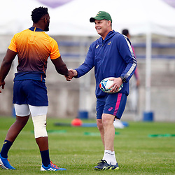 TOKYO, JAPAN - OCTOBER 15: Siya Kolisi (c) with Rassie Erasmus (Head Coach) of South Africa during the South African national rugby team training session at Fuchu Asahi Football Park on October 15, 2019 in Tokyo, Japan. (Photo by Steve Haag/Gallo Images)