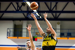 Djordje Lelic #13 of Helios Suns vs Vasileios Xanthopoulos of Aris during basketball match between KK Helios Suns (SLO) and Aris B.S.A.-2003 (GRE) in Round #1 of FIBA Champions League 2016/17, on October 18, 2016 in Sports arena Domzale, Slovenia. Photo by Vid Ponikvar / Sportida