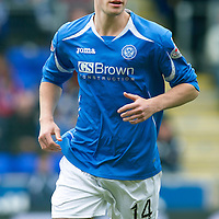 St Johnstone's Kevin Moon....21.04.12   SPL<br /> Picture by Graeme Hart.<br /> Copyright Perthshire Picture Agency<br /> Tel: 01738 623350  Mobile: 07990 594431
