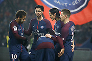 Edinson Roberto Paulo Cavani Gomez (psg) (El Matador) (El Botija) (Florestan) scored a goal from the ball passed by Kylian Mbappe (PSG), celebration with Giovani Lo Celso (PSG), Kylian Mbappe (PSG), Javier Matias Pastore (psg), Neymar da Silva Santos Junior - Neymar Jr (PSG) during the French Championship Ligue 1 football match between Paris Saint-Germain and SM Caen on December 20, 2017 at Parc des Princes stadium in Paris, France - Photo Stephane Allaman / ProSportsImages / DPPI