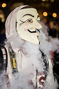 The annual Million Mask March bonfire night protest started in Trafalgar Square and headed to Westminster where it splintered. The march was organised by Anonymous UK and marchers wore the trademark V for Vendetta, Guy Fawkes masks. The police had placed tight restrictions on the route after trouble last year but, after a brief kettle, seemed happy to let the crowd filter in different directions.