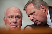 June 29, 2010 - Washington, District of Columbia, U.S., -  Senators Patrick Leahy and Dick Durban confer during Solicitor General Elena Kagan's second day of hearings before Senate Judiciary Committee on her nomination to be an associate justice of the Supreme Court.(Credit Image: © Pete Marovich/ZUMA Press)