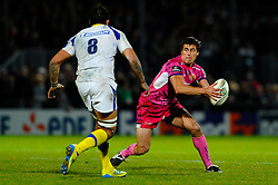Exeter Chiefs replacement (#22) Ignacio Mieres steps Clermont Number 8 (#8) Damien Chouly during the second half of the match - Photo mandatory by-line: Rogan Thomson/JMP - Tel: Mobile: 07966 386802 20/10/2012 - SPORT - RUGBY - Sandy Park Stadium - Exeter. Exeter Chiefs v ASM Clermont Auvergne - Heineken Cup Round 2