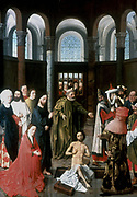 The Raising of Lazarus' Jesus raised Lazarus, brother of Martha and Mary (left), from the tomb after four days. Scene set in family side chapel. Crowd peers in through gate as, centre foreground, Lazarus rises from tomb casting off his shroud. On right man holds scarf to nose.  Albert van Ouwater (active 1430-1460) Flemish artist.