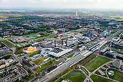 Nederland, Flevoland, Lelystad, 10-10-2014; centrum van de stad met NS station, links schouwburg de Agora,<br /> City centre with theatre and railway station.<br /> Offices in the city centre.<br /> luchtfoto (toeslag op standard tarieven);<br /> aerial photo (additional fee required);<br /> copyright foto/photo Siebe Swart