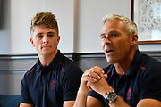 Club captain Tom Abell watches Somerset Director of Cricket Andy Hurry during the press conference during the 2019 media day at Somerset County Cricket Club at the Cooper Associates County Ground, Taunton, United Kingdom on 2 April 2019.