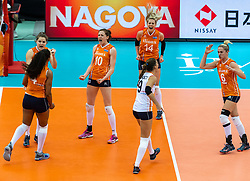 15-10-2018 JPN: World Championship Volleyball Women day 16, Nagoya<br /> Netherlands - USA 3-2 / (L-R) Celeste Plak #4 of Netherlands, Yvon Belien #3 of Netherlands, Lonneke Sloetjes #10 of Netherlands, Myrthe Schoot #9 of Netherlands, Laura Dijkema #14 of Netherlands, Maret Balkestein-Grothues #6 of Netherlands