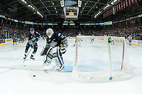 KELOWNA, CANADA - APRIL 23: Landon Bow #30 passes the puck to Jerret Smith #2 of Seattle Thunderbirds during third period against the Kelowna Rockets on April 23, 2016 at Prospera Place in Kelowna, British Columbia, Canada.  (Photo by Marissa Baecker/Shoot the Breeze)  *** Local Caption *** Landon Bow; Jerret Smith;