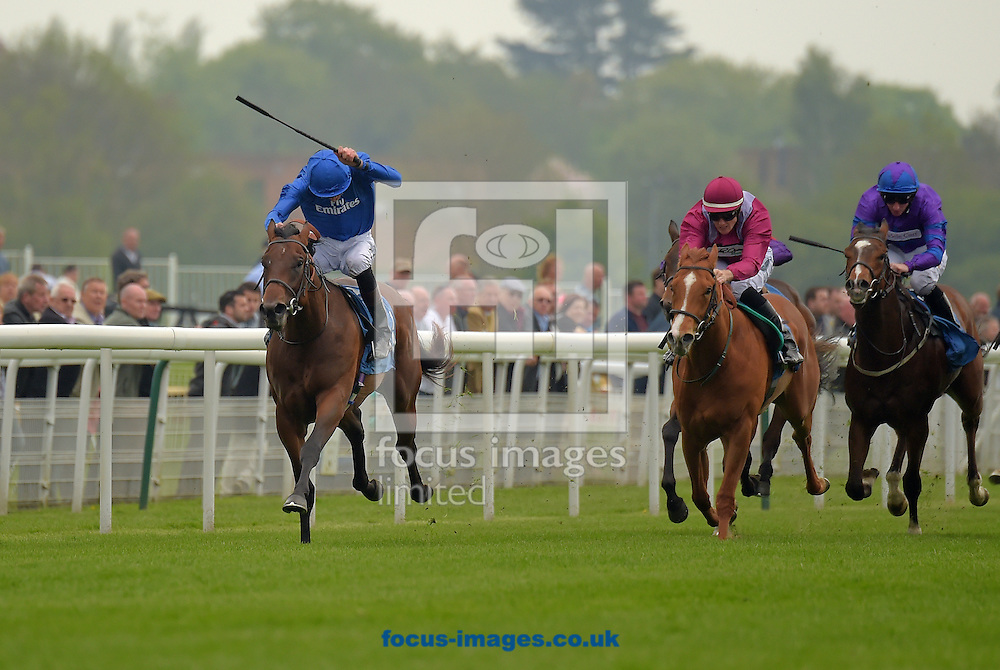 Kananee ridden by James Doyle (royal blue) wins British Stallion Studs EBF Novice Stakes during the Dante Festival 2016 at York Racecourse, York.<br /> Picture by Martin Lynch/Focus Images Ltd 07501333150<br /> 11/05/2016