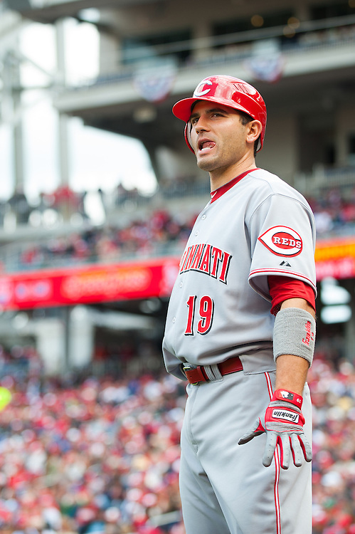 WASHINGTON, DC - APRIL 12: Joey Votto #19 of the Cincinnati Reds looks on during the game against the Washington Nationals at Nationals Park on April 12, 2012 in Washington, DC. (Photo by Rob Tringali) *** Local Caption *** Joey Votto