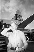 "1966 - Deborah Kerr arrives at Dublin Airport for filming of the  film ""Casino Royale"""