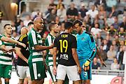 STOCKHOLM 2016-08-04<br /> KVAL TILL EUROPA LEAGUE AIK VS PANATHINAIKOS<br /> Ahmed Yasin i AIK och Luke Steele, MV, i Panathinaikos under matchen mellan AIK och Panathinaikos p&aring; Tele2 Arena, torsdag den 4 augusti 2016.<br /> Foto: Nils Petter Nilsson/Ombrello<br /> ***BETALBILD***