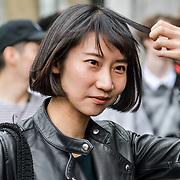 Street Fashion at London Fashion Week Men's on 9 June 2019, London, UK.