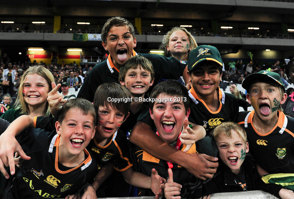 Young Springbok fans during the 2013 Castle Incoming Tour rugby match between South Africa and Scotland at Mbombela Stadium in Nelspruit, South Africa on June, 15 2013 ©Barry Aldworth/BackpagePix