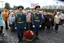 September 8, 2017 - Saint-Petersburg, Russia - Of The Russian Federation. Saint-Petersburg. The monument of Victory in the great Patriotic war. Funeral ceremony at Victory square dedicated to the Day of memory of victims of blockade of Leningrad. Monument to the heroic defenders of Leningrad in Victory square. (Credit Image: © Russian Look via ZUMA Wire)