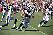 Los Angeles Rams linebacker Bryce Hager (54) runs with the ball as he returns a fumble that gives the Rams the ball at the Oakland Raiders 25 yard line in the second quarter during the 2018 NFL preseason week 2 football game against the Oakland Raiders on Saturday, Aug. 18, 2018 in Los Angeles. The Rams won the game 19-15. (©Paul Anthony Spinelli)