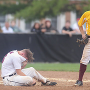 Caravel Academy Pitcher Joseph Silan (6) seen in pain after taking hit to the elbow as St. Elizabeth Patrick	Harkins (6) looks on in the mist of the second round of the DIAA baseball state tournament between #4 Caravel Academy and #15 St. Elizabeth Saturday May 27, 2017, at Caravel Academy in Bear Delaware.