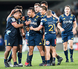 Highlanders' players celebrate winning a penalty late in the game against the Crusaders in the Super Rugby match, Forsyth Barr Stadium, Dunedin, New Zealand, Saturday, March 17, 2018. Credit:SNPA / Adam Binns ** NO ARCHIVING**