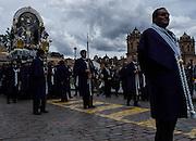 Procession of El Senor de los Milagros (Lord of Miracles) in Cusco, Peru.