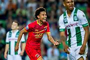 GRONINGEN, 17-05-2017, FC Groningen - AZ,  Noordlease Stadion, AZ speler Calvin Stengs heeft de 1-3 gescoord, juicht, juichen