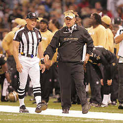 2008 November, 24: New Orleans Saints head coach Sean Payton watches his team from the sidelines during a Monday Night Football game between the Green Bay Packers and the New Orleans Saints at the Louisiana Superdome in New Orleans, LA.