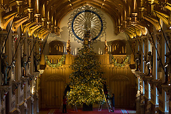 Windsor, UK. 30th November, 2018. The State Apartments at Windsor Castle have been decorated with glittering Christmas trees and twinkling lights for Christmas. Seen here in St George's Hall a striking 20ft Nordmann Fir tree from Windsor Great Park dressed in gold. A 15ft Christmas tree also appears in the Crimson Drawing Room.