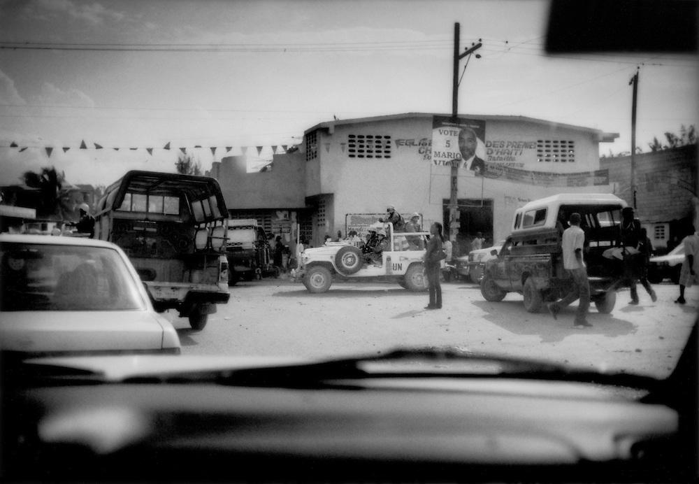 UN Peacekeepers patrol streets of Port au Prince, Haiti.