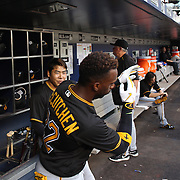 NEW YORK, NEW YORK - June 15: Andrew McCutchen #22 of the Pittsburgh Pirates in the dugout preparing to bat  during the Pittsburgh Pirates Vs New York Mets regular season MLB game at Citi Field on June 15, 2016 in New York City. (Photo by Tim Clayton/Corbis via Getty Images)