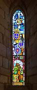 Stained glass window church of Saint Mary the Virgin, Holy Island, Lindisfarne, Northumberland, England, UK