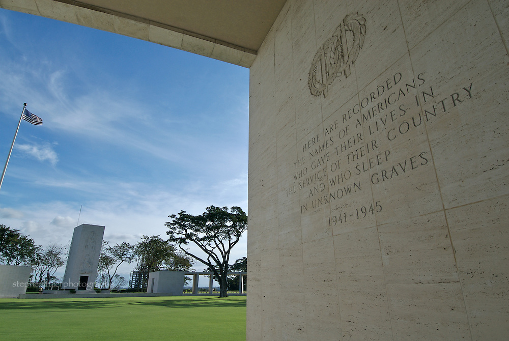 Manila American Cemetery & Memorial in Fort Bonifacio, The Philippines. The cemetery holds the remains of 16,636 US servicemen and 570 Filipinos who served with US Armed Forces. Inscribed on the walls of the Memorial Hemicycle are the names of 36,285 MIAs.