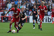 Bristol Marlon Pack (21) sprints past Derby Matej Vydra (23)during the EFL Sky Bet Championship match between Bristol City and Derby County at Ashton Gate, Bristol, England on 17 September 2016. Photo by Gary Learmonth.