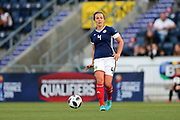 Rachel Corsie (#4) of Scotland plays a short pass during the FIFA Women's World Cup UEFA Qualifier match between Scotland Women and Belarus Women at Falkirk Stadium, Falkirk, Scotland on 7 June 2018. Picture by Craig Doyle.