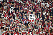 "Arizona Cardinals fans wave white towels while one of them holds a sign stating ""do it for #32"" while referring to injured Arizona Cardinals free safety Tyrann Mathieu (32) during the Arizona Cardinals NFL NFC Divisional round playoff football game against the Green Bay Packers on Saturday, Jan. 16, 2016 in Glendale, Ariz. The Cardinals won the game in overtime 26-20. (©Paul Anthony Spinelli)"