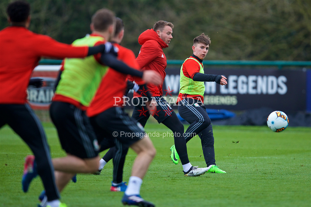 CARDIFF, WALES - Thursday, March 23, 2017: Wales' Ben Woodburn during a training session at the Vale Resort ahead of the 2018 FIFA World Cup Qualifying Group D match against Republic of Ireland. (Pic by David Rawcliffe/Propaganda)