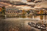Autumn sunset at the Herrington Inn in Geneva, Illinois. The Inn overlooks the Fox River.