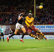 23rd December 2017, Fir Park, Motherwell, Dundee; Scottish Premier League football, Motherwell versus Dundee; Dundee's Sofien Moussa beats Motherwell's Cedric Kipre in the air