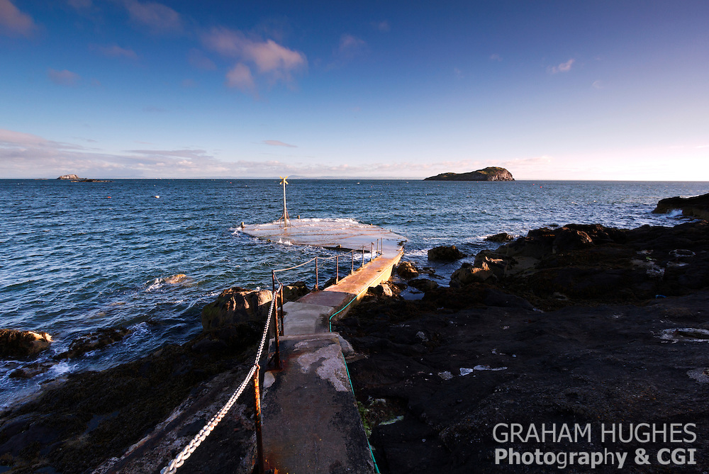 North Berwick, Scotland. Stone Jetty and Steps to Sea.