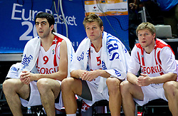 Giorgi Shermadini of Georgia, Vladimer Boisa of Georgia and Anatoli Boisa of Georgia during basketball match between National teams of Georgia and Russia in Group D of Preliminary Round of Eurobasket Lithuania 2011, on September 1, 2011, in Arena Svyturio, Klaipeda, Lithuania. (Photo by Vid Ponikvar / Sportida)