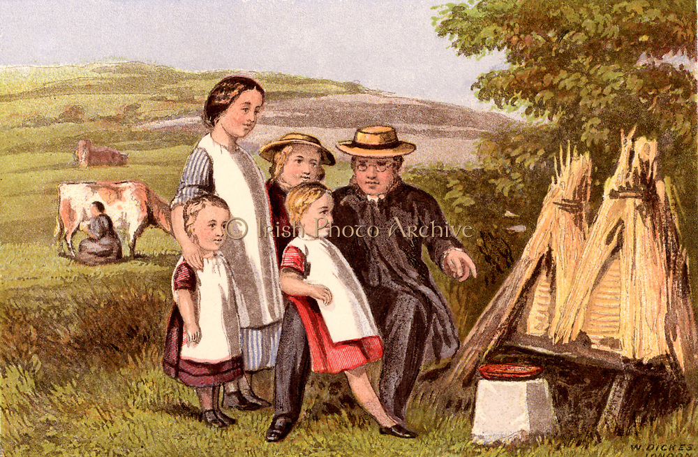 Industry'.  Children being shown straw beehives or skeps. In the 19th century Bees were a popular example of industriousness. Chromolithograph from 'Household Pictures for Home and School'  c1875.