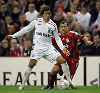 Photo: Paul Thomas/Sportsbeat Images.<br /> Liverpool v Besiktas. UEFA Champions League. 06/11/2007.<br /> <br /> Matias Delgado (L) of Besiktas battles with Javier Mascherano.