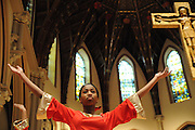 "Chicago Catholic Schools liturgical dancer Zoie Horton, 12, celebrate the 33rd Annual African American Heritage Month Eucharistic Celebration at Holy Name Cathedral. This year's mass celebrates the the Nguzo Saba principle of Kuumba, or ""creativity"" at Holy Name Cathedral."
