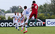 Team USA forward Christian Torres (9) and Portugal defender Gabriel Costa (4) head the ball during a CONCACAF boys under-15 championship soccer game, Saturday, August 10, 2019, in Bradenton, Fla. Portugal defeated Team USA 3-0 and advanced to the finals against Slovenia. (Kim Hukari/Image of Sport)