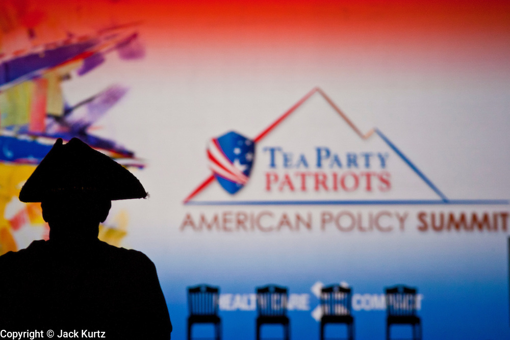 26 FEBRUARY 2011 - PHOENIX, AZ: CARL KIZER, from Yuma, AZ, wore a tri-cornered hat during the Tea Party Patriots Summit meeting in Phoenix Saturday. The Tea Party Patriots American Policy Summit goes through Sunday Feb. 27. About 2,000 people are attending the event, which organizers said is meant to unite Tea Party groups across the country. Speakers include former Minnesota Governor Tim Pawlenty, Texas Congressman Ron Paul, former Clinton advisor Dick Morris and conservative blogger Andrew Brietbart. The event ends with a presidential straw poll Sunday.   Photo by Jack Kurtz