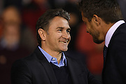 Nottingham Forest manager Philippe Montanier greets Fulham manager Slavisa Jokanovic during the EFL Sky Bet Championship match between Nottingham Forest and Fulham at the City Ground, Nottingham, England on 27 September 2016. Photo by Jon Hobley.
