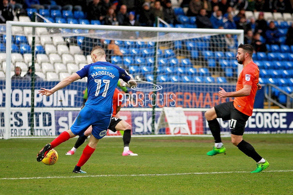 Peterborough United midfielder Marcus Maddison (11) gets in a shot during the EFL Sky Bet League 1 match between Peterborough United and Southend United at London Road, Peterborough, England on 3 February 2018. Picture by Nigel Cole.