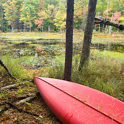 A canoe rests next to a small pond near Page Brook and Lake Winnipesauke in Meredith, New Hampshire