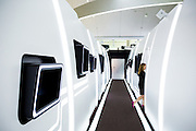 ABU DHABI, UAE - FEBRUARY 8, 2015:A mock-up of the aircraft cabins, located at the innovation center.